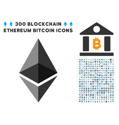 Ethereum crystal flat icon with bonus vector