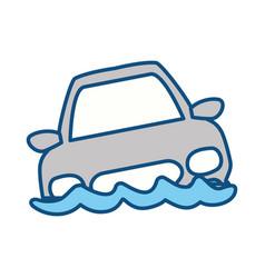 flooded car for danger weather vector image