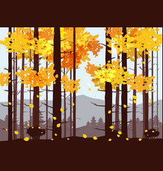 Forest mountains silhouettes of pine trees firs vector