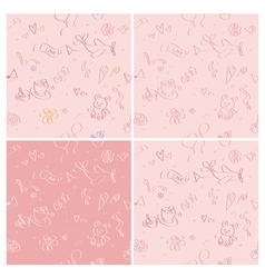 Four romantic love seamless patterns vector image