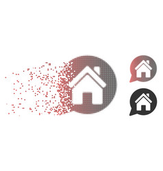 Fragmented pixel halftone house mention icon vector