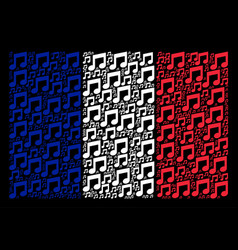 French flag collage of music notes items vector