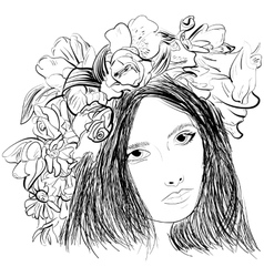 Girl wearing a wreath ink sketch vector
