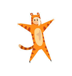 Girl wearing tiger animal costume person in vector