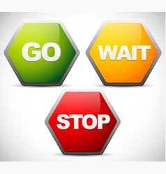 Go wait and stop control traffic signs signals vector