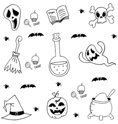 Halloween element in doodle black white vector