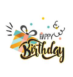 happy birthday gift box white background im vector image
