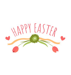 happy easter greeting banner with flowers and vector image