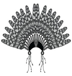 Headdress with zentangle feathers vector