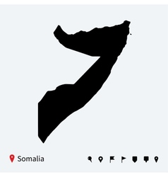 High detailed map of Somalia with navigation pins vector