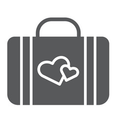 honeymoon glyph icon briefcase and love baggage vector image