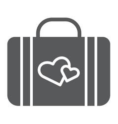 Honeymoon glyph icon briefcase and love baggage vector