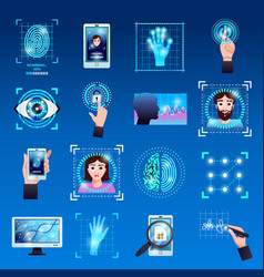 identification technologies icons set vector image