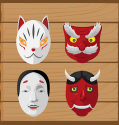 japan culture mask design set vector image