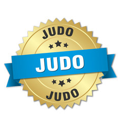 Judo round isolated gold badge vector