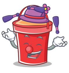 juggling bucket character cartoon style vector image