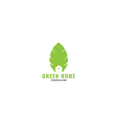 Leaf stand with home or house logo design green vector