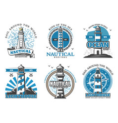 Lighthouse and beacon navigation icons vector