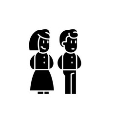 married couple black icon sign on isolated vector image
