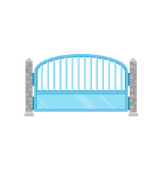 metal fence with stone fence posts protective vector image