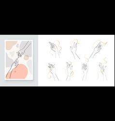 modern abstract art botanical wall art boho vector image