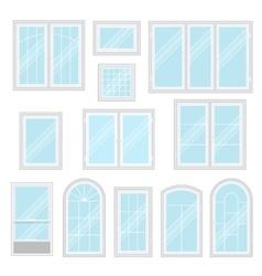 Modern shiny windows set isolated vector image