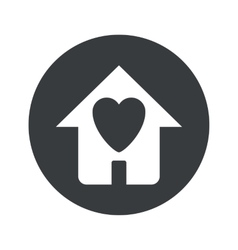 Monochrome round love house icon vector image