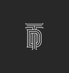 Monogram td or dt initials of the logo a vector