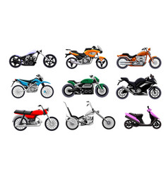 motorbike icon set isolated motorcycle scooter vector image