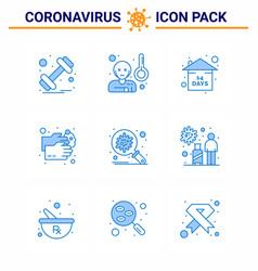 Novel coronavirus 2019-ncov 9 blue icon pack vector