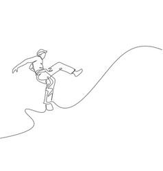 One single line drawing young energetic man vector