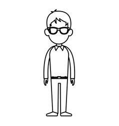 outline man person standing avatar image vector image