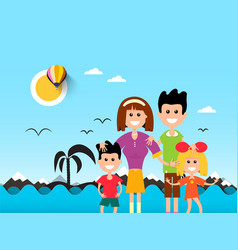 People on beach with ocean waves and palm tre vector