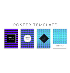 poster set with blue color circle shape pattern vector image