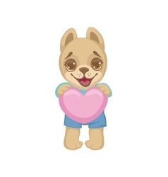 Puppy Holding A Pink Heart vector