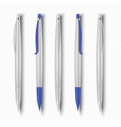 realistic pen 3d white plastic office pen school vector image