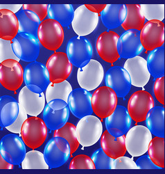 red blue white balloon background usa flag theme vector image