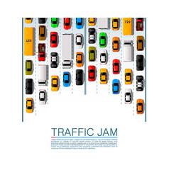 road cars transport traffic jam background vector image