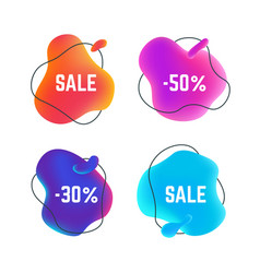 Sale fluid banners organic abstract round title vector