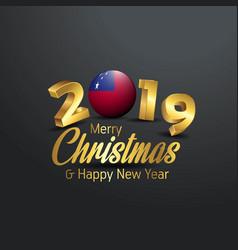Samoa flag 2019 merry christmas typography new vector