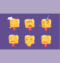 sandwiches set food characters with funny faces vector image