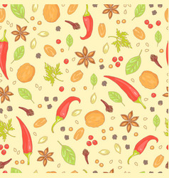 Seamless pattern spices as pepper and chili vector