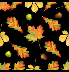seamless pattern with autumn leaves and ancorns vector image