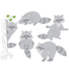 Set of cute cartoon raccoons vector