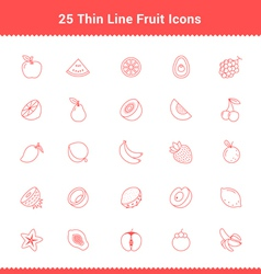 Set of Thin Line Stroke Fruit Icon vector