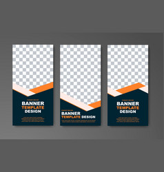 Set of vertical web banners in black with orange vector