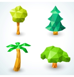 set polygonal origami tree icons vector image