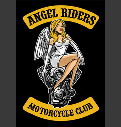 Sexy angel and motorcycle engine vector