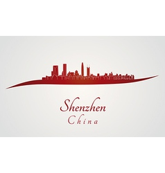 Shenzhen skyline in red vector