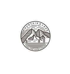simple mountain and lake mono-line logo design vector image